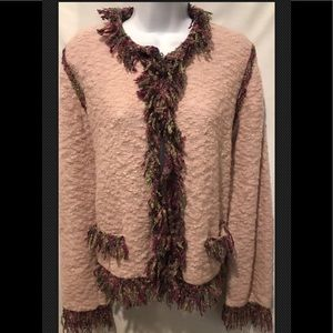 DOROTHY WHO? Boho Fringe Fuzzy Pink Mohair Wool